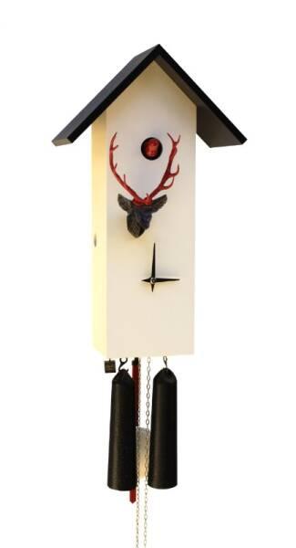 Moderne Kuckucksuhr mit Hirschkopf und 8 Tage Laufwerk weiss/schwarz/rot