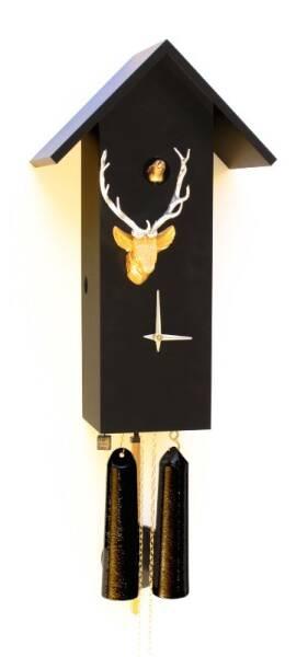 Moderne Kuckucksuhr mit Hirschkopf und 8 Tage Laufwerk schwarz/gold/silber