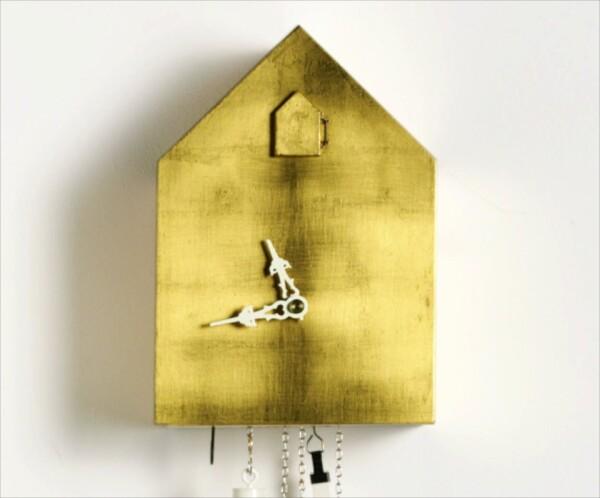 Artificial Kuckucksuhr von Tobias Reischle - moderne Kuckucksuhr 24 Karat Blattgold