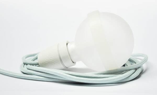 Legelampe von  raumgestalt mit Textilkabel Mintgraue Lampe LL23