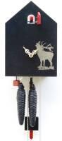 Moderne Kuckucksuhr mit Hirschmotiv von Rombach & Haas schwarz