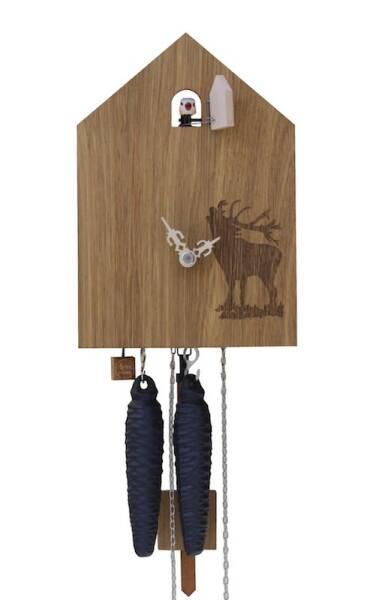Moderne Kuckucksuhr mit Hirschmotiv von Rombach & Haas natur hell