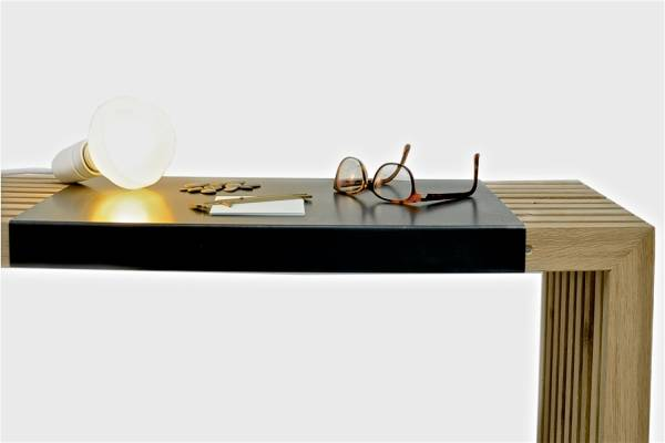 Ferro Nero - Auflage für Sitzbank aus Eichenlamellen und Konsole