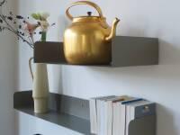 Poggibonsi Bücherregal Atelier Haussmann - Buchablage für Puristen 55 cm ( H11,5 x L 55 x T 29 cm )  beigegrau matt RAL 7006